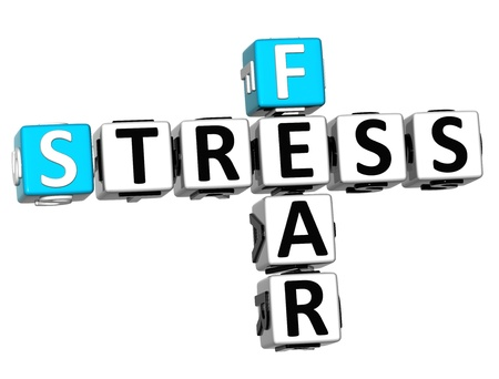 3D Fear Stress Crossword on white background photo