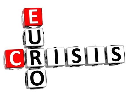 fiasco: 3D Euro Crisis Crossword on white background Stock Photo