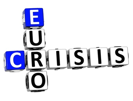 bussines: 3D Euro Crisis Crossword on white background Stock Photo