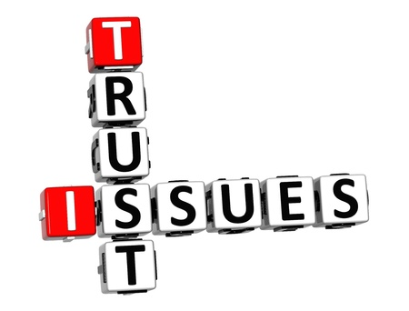 3D Trust Issues Crossword on white background Stock Photo - 16416227