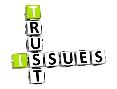 3D Trust Issues Crossword on white background photo