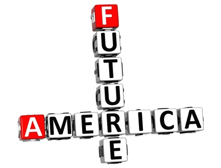 3D Future America Crossword on white background photo