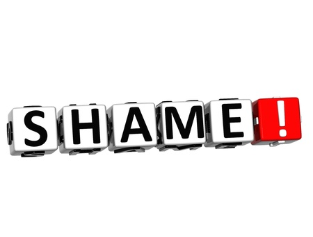 3D Shame Button Click Here Block Text over white background Stock Photo - 16416192