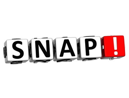 snap: 3D Snap Button Click Here Block Text over white background
