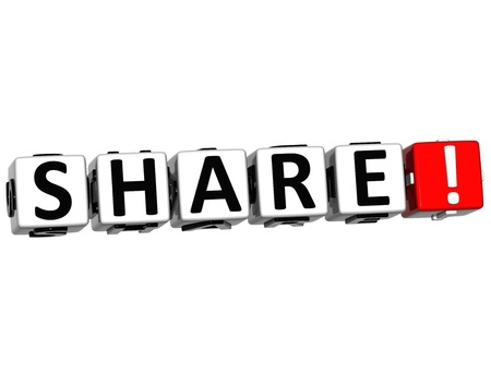 3D Share Button Click Here Block Text over white background Stock Photo - 16416189