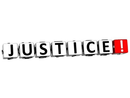 3D Justice Button Click Here Block Text over white background photo