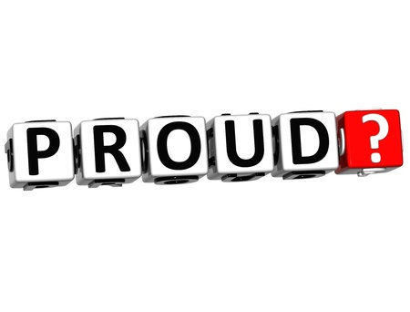 3D Proud Button Click Here Block Text over white background Stock Photo - 16416198