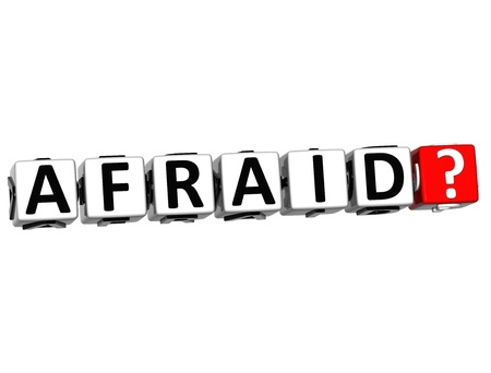 disgusted: 3D Afraid Button Click Here Block Text over white background Stock Photo