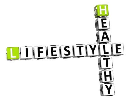 signos vitales: Crucigrama 3D estilo de vida saludable en el fondo blanco