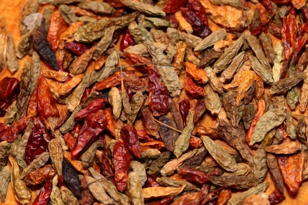 Closeup of red dried chilli background photo