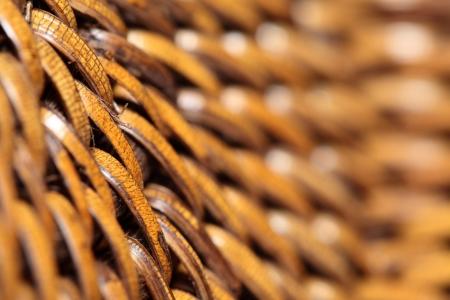 Detail of interlaced rattan fibers in macro photo