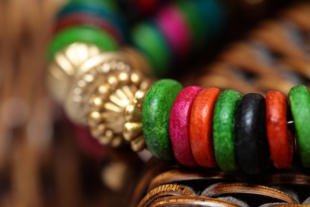 Close up view of colorful india bracelet. photo