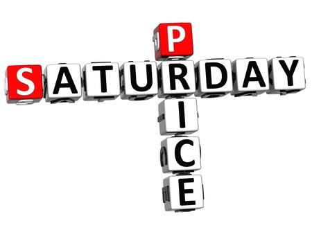 saturday: 3D Saturday Price Crossword on white background