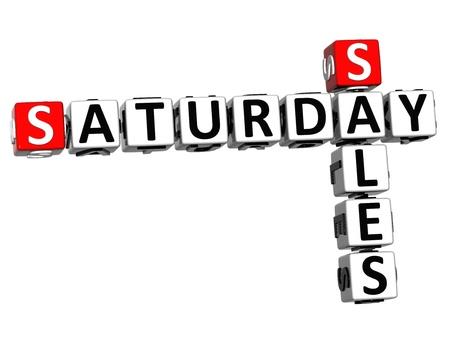 saturday: 3D Saturday Sales Crossword on white background