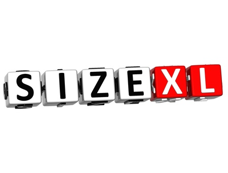 3D Size XL Button Click Here Block Text over white background Stock Photo - 16708623