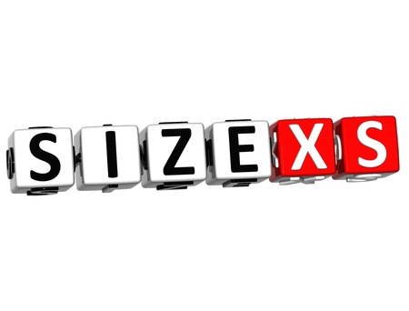 3D Size XS Button Click Here Block Text over white background Stock Photo - 16708627