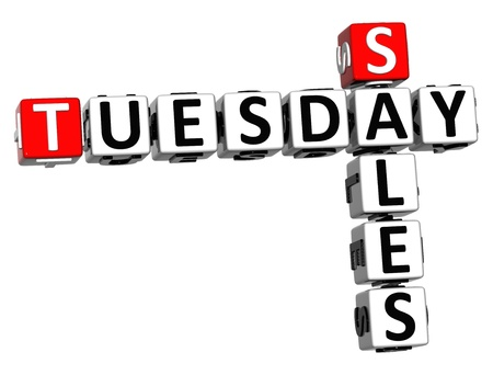 tuesday: 3D Tuesday Sales Crossword on white background