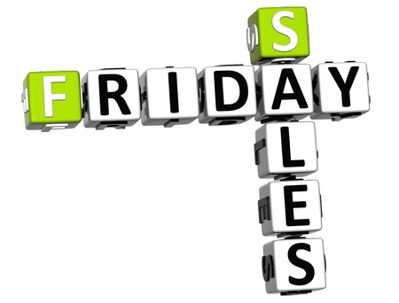 3D Friday Sales Crossword on white background photo