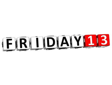 3D Friday 13 Button Click Here Block Text over white background photo