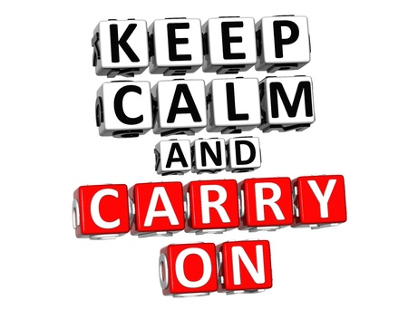 3D Keep Calm And Carry On Button Click Here Block Text over white background photo