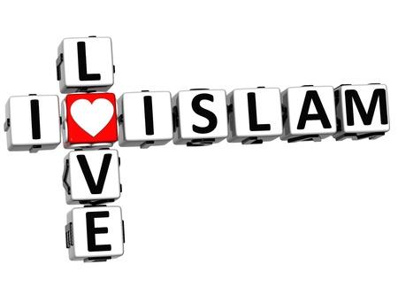 3D I Love Islam Crossword on white background photo