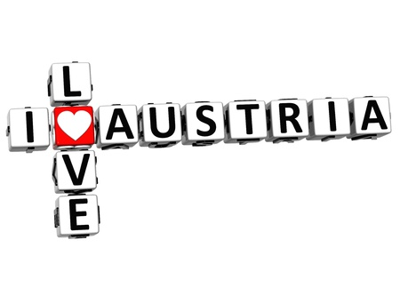3D I Love Austria Crossword on white background Stock Photo - 16833719