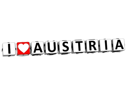 malta cities: 3D I Love Austria Button Click Here Block Text over white background