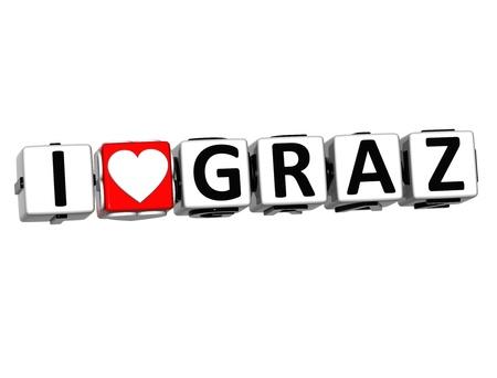 malta cities: 3D I Love Graz Button Click Here Block Text over white background Stock Photo