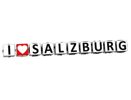 malta cities: 3D I Love Salzburg Button Click Here Block Text over white background Stock Photo