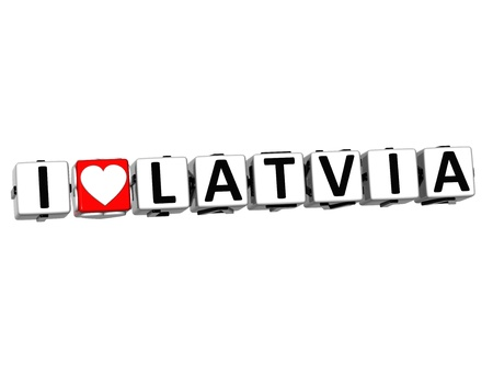 malta cities: 3D I Love Latvia Button Click Here Block Text over white background Stock Photo