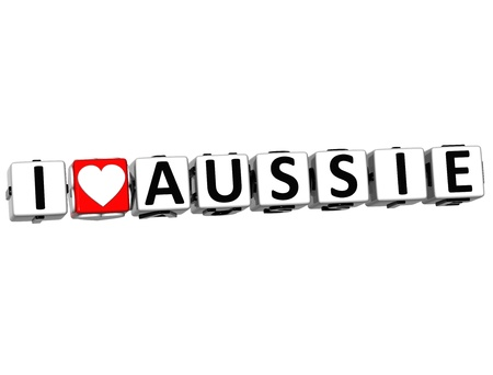 3D I Love Aussie Button Click Here Block Text over white background photo