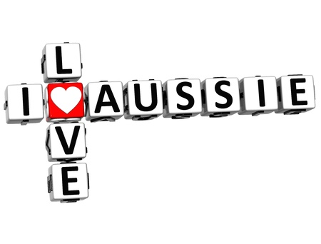 3D I Love Aussie Crossword on white background photo