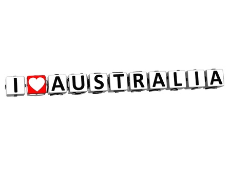 3D I Love Australia Button Click Here Block Text over white background photo