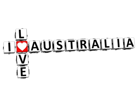3D I Love Australia Crossword on white background photo