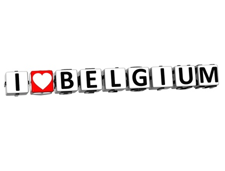malta cities: 3D I Love Belgium Button Click Here Block Text over white background Stock Photo