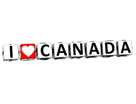 i love canada: 3D I Love Canada Button Click Here Block Text over white background Stock Photo