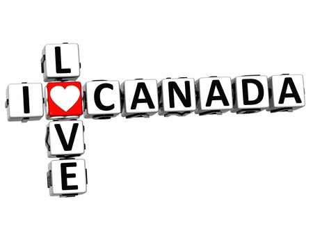 i love canada: 3D I Love Canada Crossword on white background Stock Photo