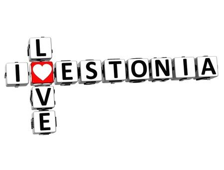 3D I Love Estonia Crossword on white background Stock Photo - 16833717