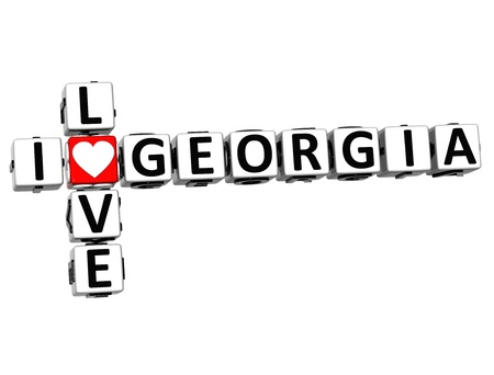 3D I Love Georgia Crossword on white background photo