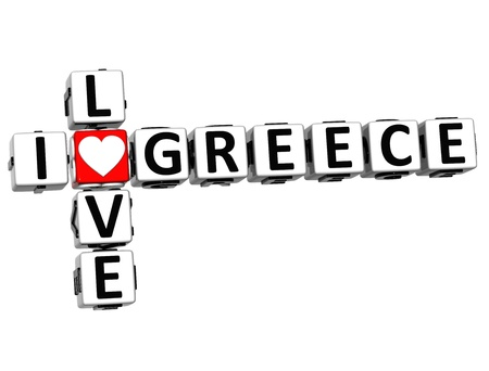 3D I Love Greece Crossword on white background Stock Photo - 16833761