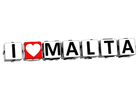 malta cities: 3D I Love Malta Button Click Here Block Text over white background