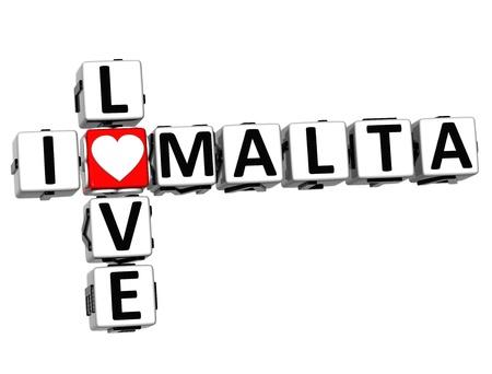 3D I Love Malta Crossword on white background Stock Photo - 16833765