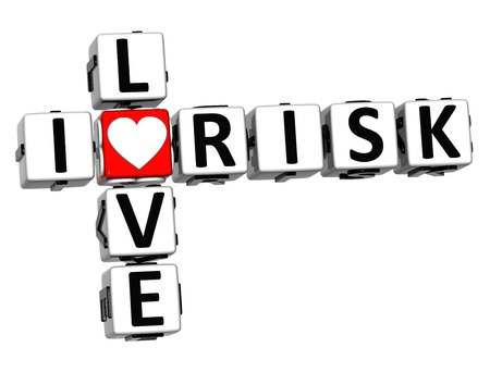 3D I Love Risk Crossword on white background photo