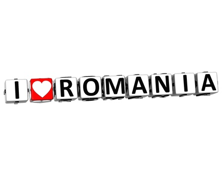 3D I Love Romania Button Click Here Block Text over white background Stock Photo - 16833696