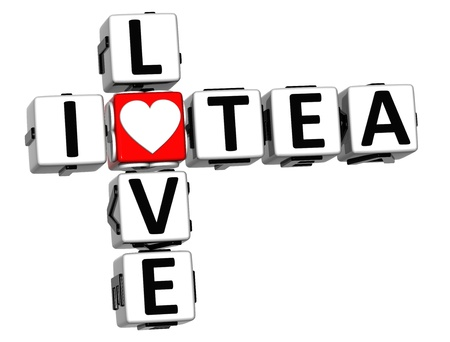 3D I Love Tea Crossword on white background Stock Photo - 16833771