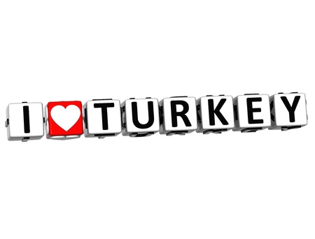 3D I Love Turkey Button Click Here Block Text over white background Stock Photo - 16833690