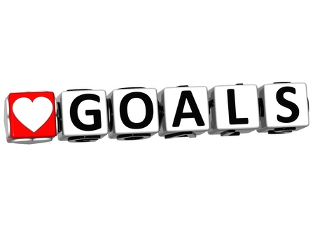 3D Love Goals Button Click Here Block Text over white background Stock Photo - 16941202
