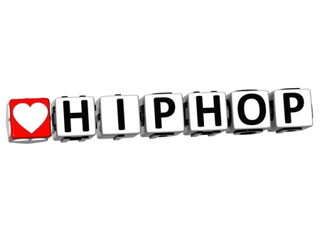 3D Love HipHop Button Click Here Block Text over white background photo