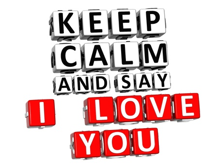 3D Keep Calm And Say I Love You Button Click Here Block Text over white background photo