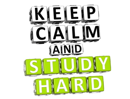3D Keep Calm And Study Hard Button Click Here Block Text over white background photo